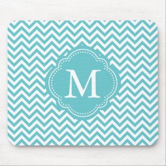 Girly Aqua White Chevron Stripes Monogram Mouse Pad