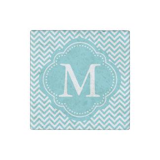 Girly Aqua White Chevron Stripes Monogram Stone Magnet