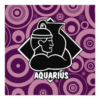 Girly Aquarius Zodiac Sign Purple Retro Circles Card