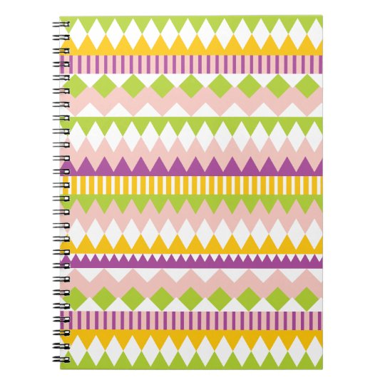 Girly Aztec Andes Colorful Tribal Pattern Notebook