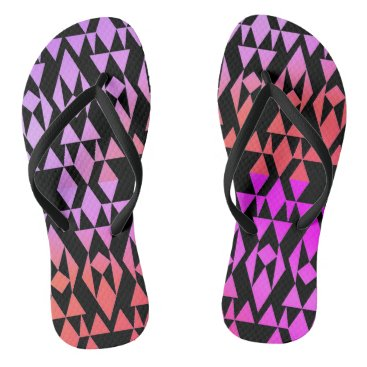 Aztec Themed Girly Aztec Geometric Purple/Black Flip Flops