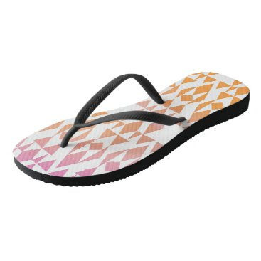 Aztec Themed Girly Aztec Orange/Pink/White/Black Flip Flops