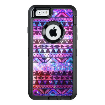 girly_trend Girly aztec pattern pink teal nebula space OtterBox defender iPhone case