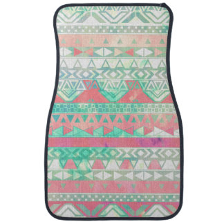 Girly Aztec Pattern Pink Turquoise Watercolor Car Mat