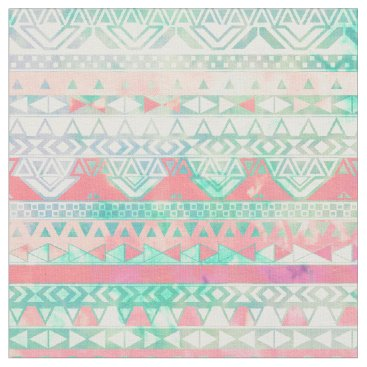 Aztec Themed Girly Aztec Pattern Pink Turquoise Watercolor Fabric