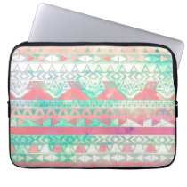 Girly Aztec Pattern Pink Turquoise Watercolor Laptop Sleeve