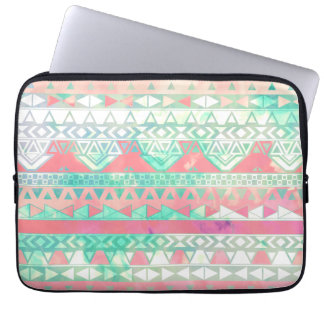 Girly Aztec Pattern Pink Turquoise Watercolor Laptop Computer Sleeve