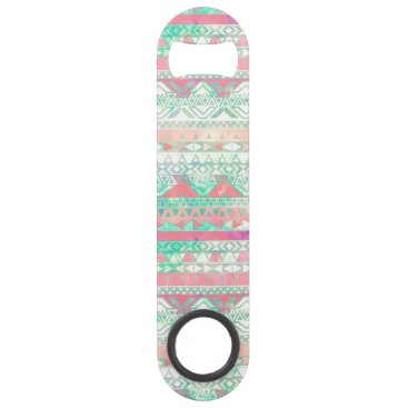 Aztec Themed Girly Aztec Pattern Pink Turquoise Watercolor Speed Bottle Opener