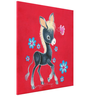 Girly Baby Donkey With Flowers Canvas Print