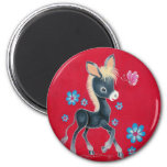 Girly Baby Donkey With Flowers Magnets