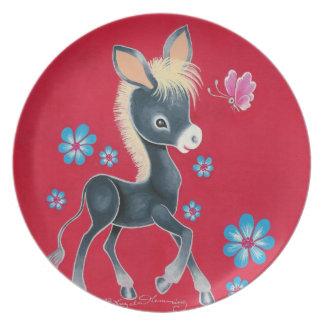 Girly Baby Donkey With Flowers Melamine Plate