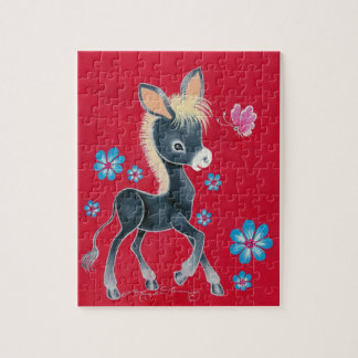 Girly Baby Donkey With Flowers Puzzle
