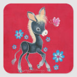 Girly Baby Donkey With Flowers Stickers
