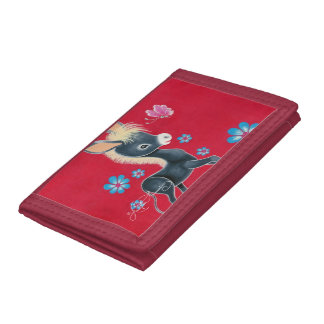 Girly Baby Donkey With Flowers Trifold Wallets