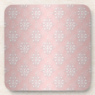 Girly Baby Pink and White Damask Drink Coaster