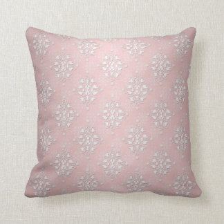 Girly Baby Pink and White Damask Throw Pillows