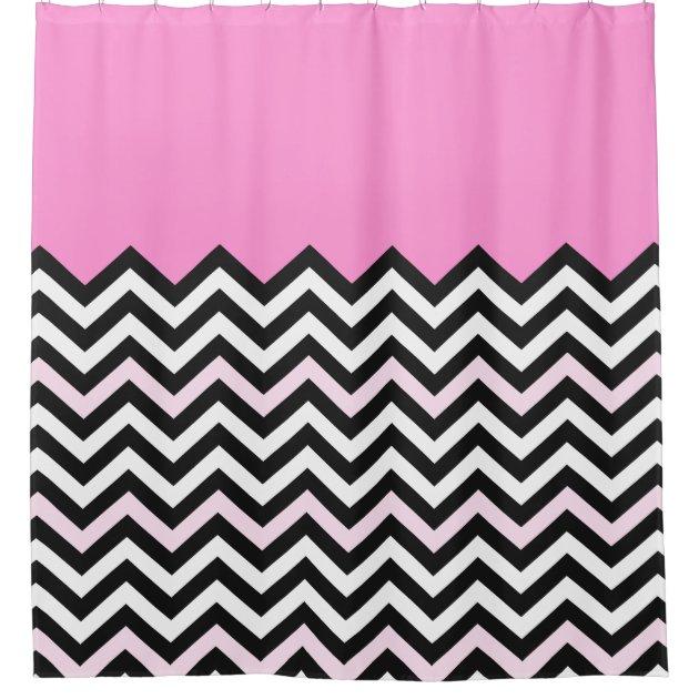Girly baby pink chevron stylish zigzag pattern shower curtain r83cb349