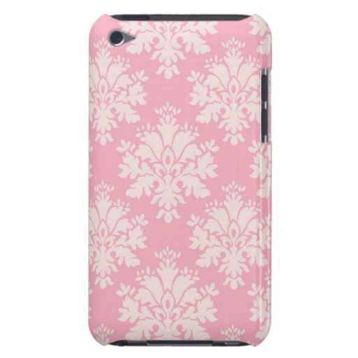 Girly Baby Pink Cream Vintage Damask Pattern Barely There iPod Covers