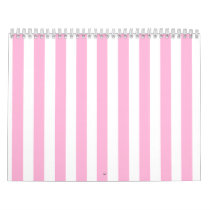 Girly Baby Pink Solid Stripes Pattern Calendar
