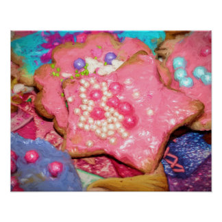 Girly Bakery Pink Frosted Sugar Cookies Painting Poster
