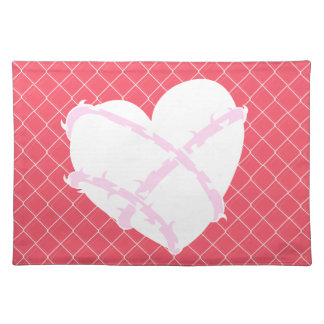 Girly Barb Wire Heart on Chain Link Fence Placemat
