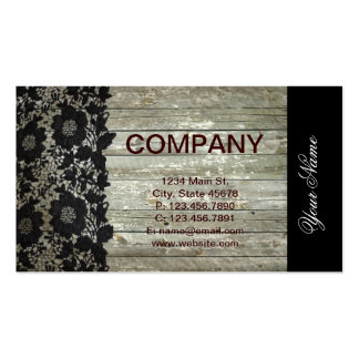 girly barn wood texture modern black lace business card