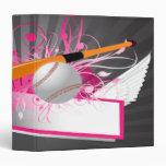 girly baseball designs notebook 3 ring binder