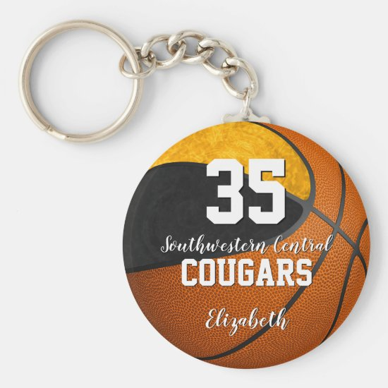 girly basketball black gold school team colors keychain