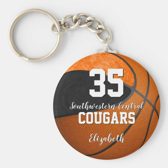 girly basketball black orange school team colors keychain