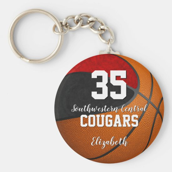 girly basketball black red school team colors keychain