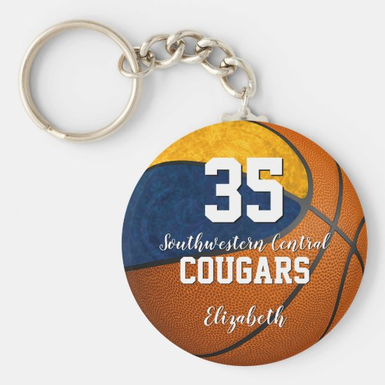 girly basketball blue gold school team colors keychain