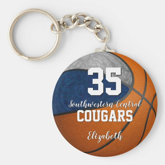 girly basketball blue gray school team colors keychain