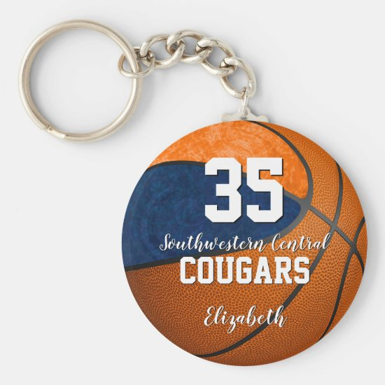 girly basketball blue orange school team colors keychain