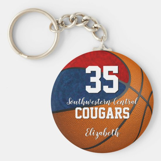 girly basketball blue red school team colors keychain
