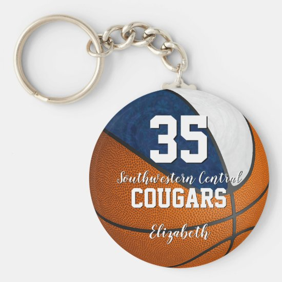 girly basketball blue white her school team colors keychain