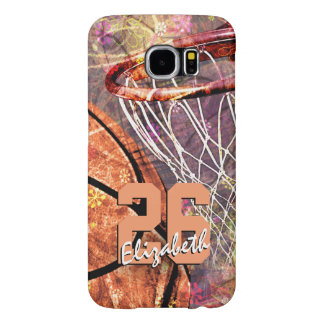 Girly Basketball girls name jersey number Samsung Galaxy S6 Case