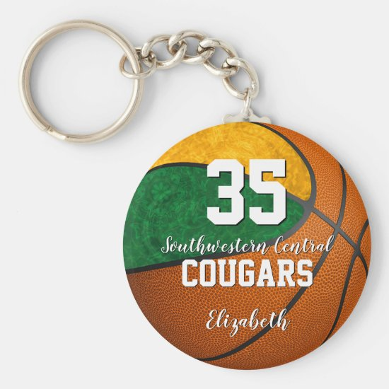 girly basketball green gold school team colors keychain