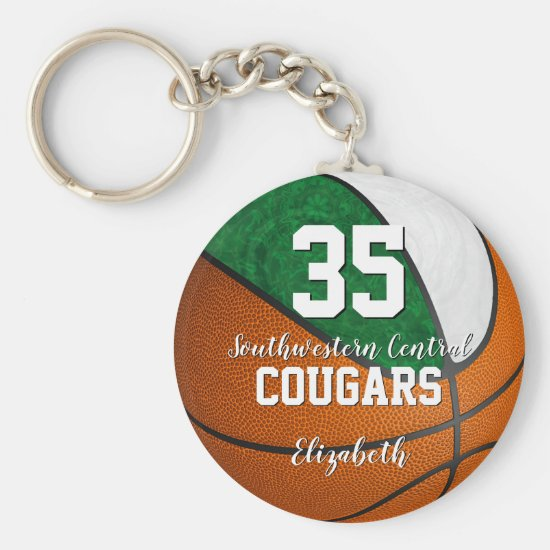 girly basketball green white school team colors keychain