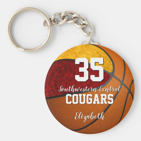 girly basketball maroon gold school team colors keychain