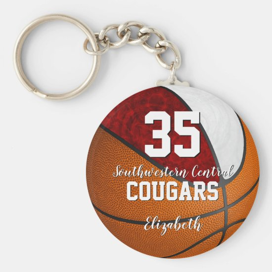 girly basketball maroon white school team colors keychain