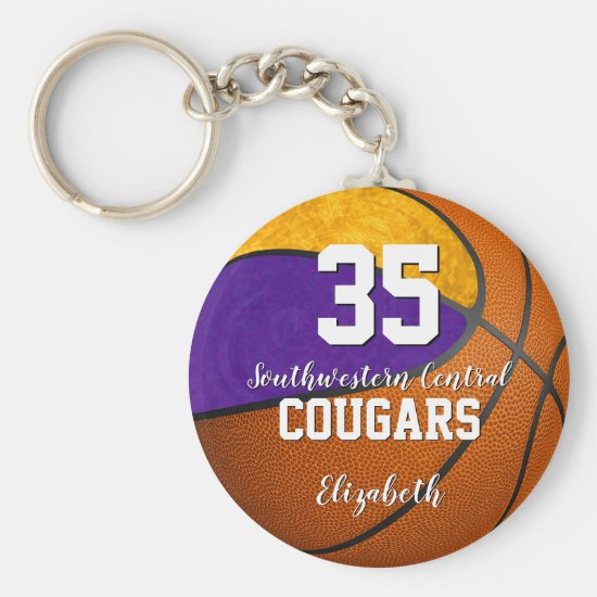 girly basketball purple gold school team colors keychain
