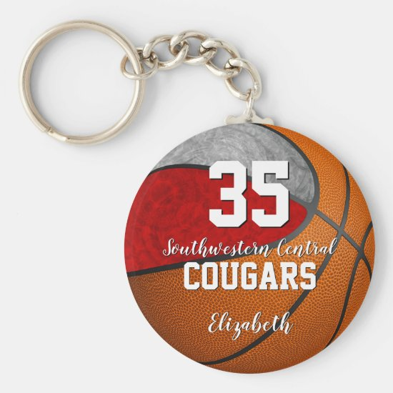 girly basketball red gray school team colors keychain