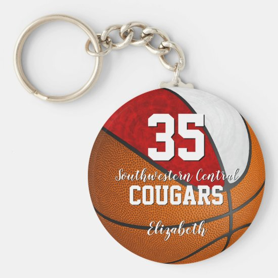 girly basketball red white school team colors keychain