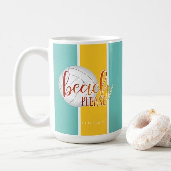 "girly ""beach please"" personalized volleyball coffee mug"