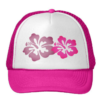 Girly Beachy Hibiscus Flowers Hot Pink Trucker Hat