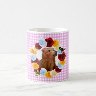 Girly Bear Cub Flowers Gingham Coffee Mug