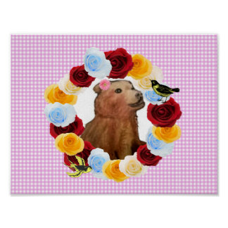 Girly Bear Cub Flowers Gingham Poster