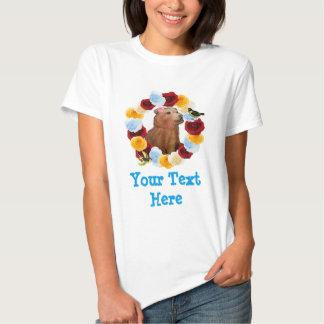 Girly Bear Cub Flowers Gingham Tee Shirt