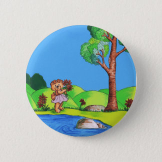 Girly Bear Pinback Button