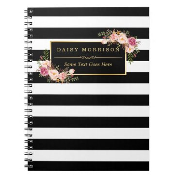 CardHunter Girly Beautiful Floral Wrapping Gold B&W Stripes Notebook